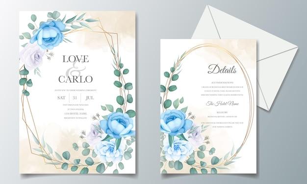 Lindo modelo de cartão de convite de casamento com flores e folhas