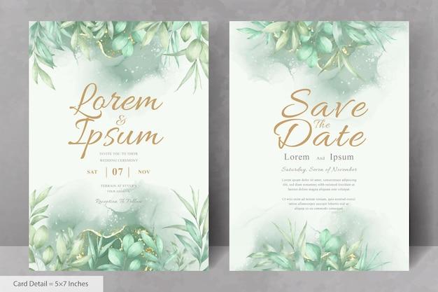 Lindo modelo de cartão de convite de casamento com folhagem desenhada à mão em aquarela