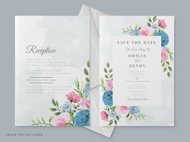 Lindo modelo de cartão de convite de casamento com mão floral desenhada