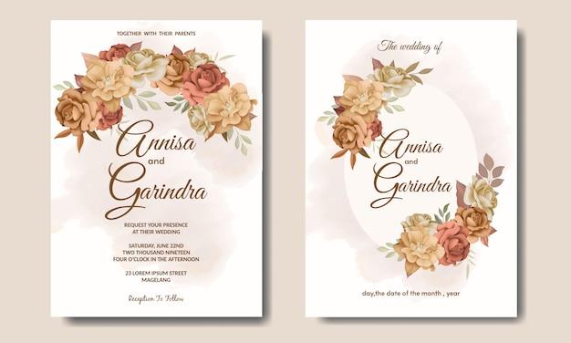 Lindo modelo de cartão de convite de casamento com moldura floral de outono