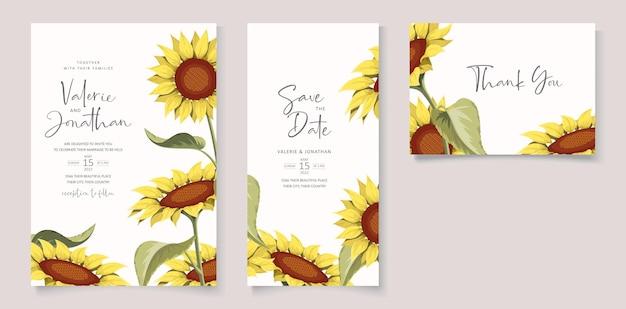 Lindo modelo de cartão de convite de casamento de girassol