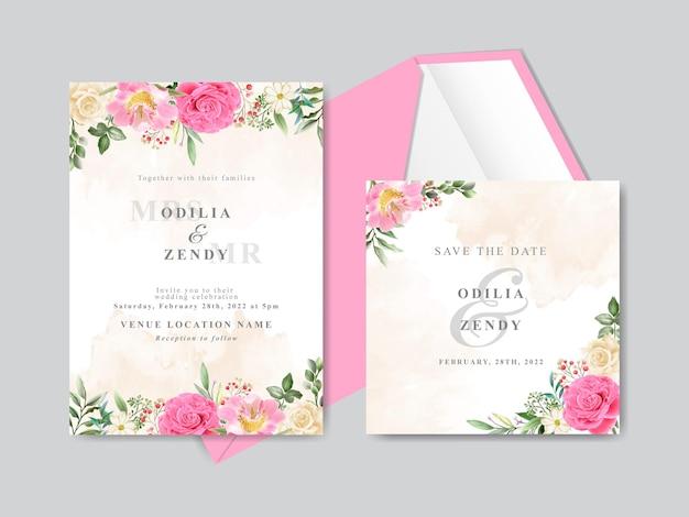 Lindo modelo de cartão de convite de casamento desenhado à mão com design rosa rosa