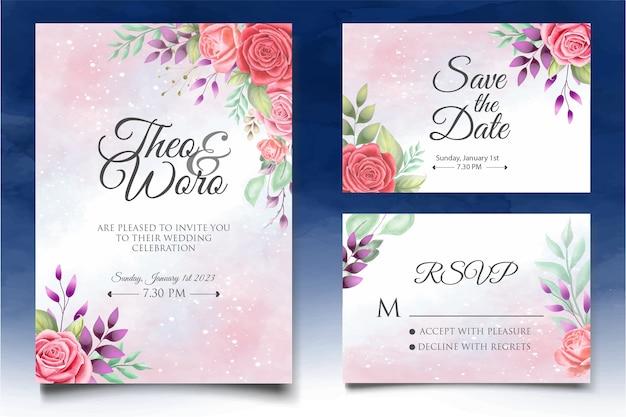 Lindo modelo de cartão de convite de casamento floral em aquarela