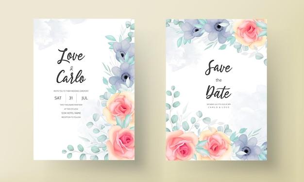 Lindo modelo de cartão de convite de casamento floral