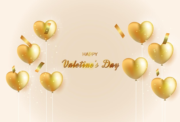 Lindo modelo de cartão de dia dos namorados com balões de amor dourados e texto
