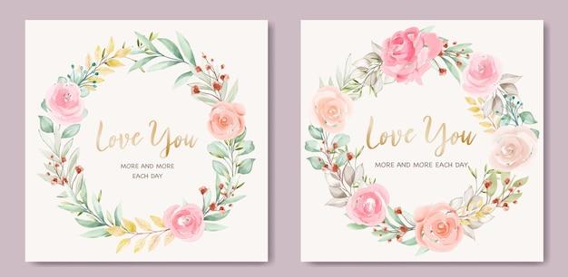 Lindo modelo de cartão de dia dos namorados com grinalda floral