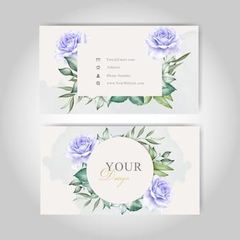Lindo modelo de cartões de visita com aquarela splash e floral