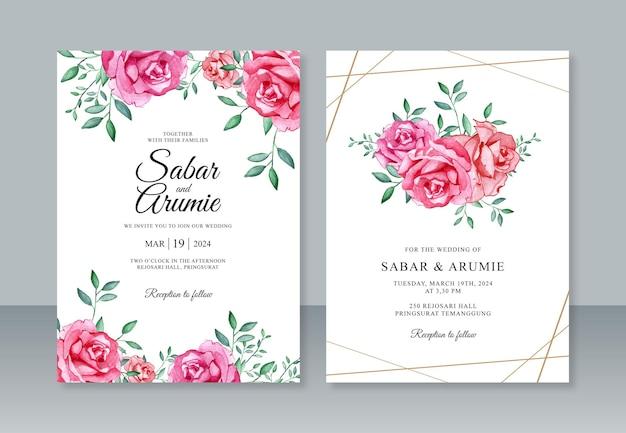 Lindo modelo de convite de cartão de casamento com pintura em aquarela de rosas