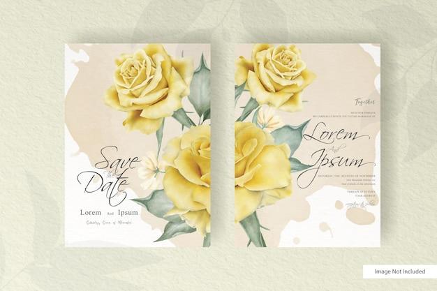 Lindo modelo de convite de casamento com flores e folhas realistas