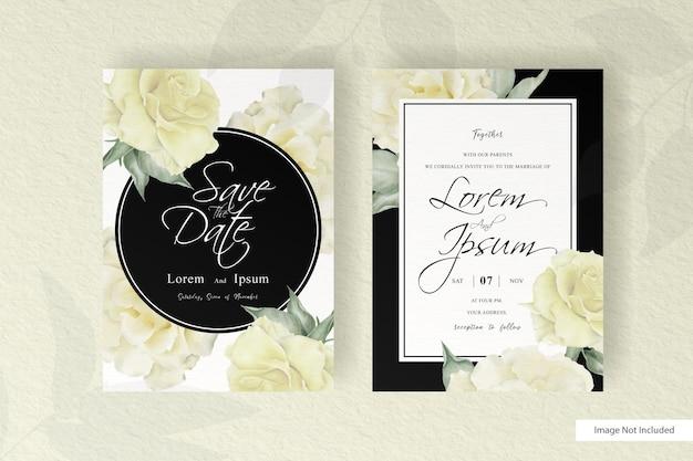 Lindo modelo de convite de casamento com flores e folhas realistas Vetor Premium