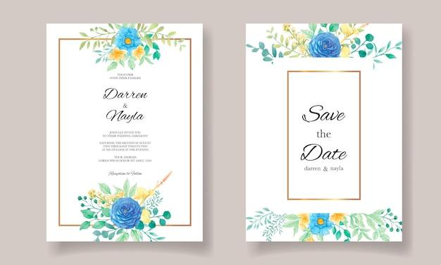 Lindo modelo de convite de casamento com flores em aquarela e folhas