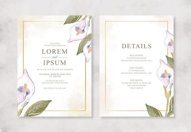 Lindo modelo de convite de casamento com flores em aquarela