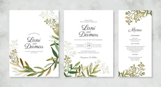 Lindo modelo de convite de casamento com folhagem em aquarela