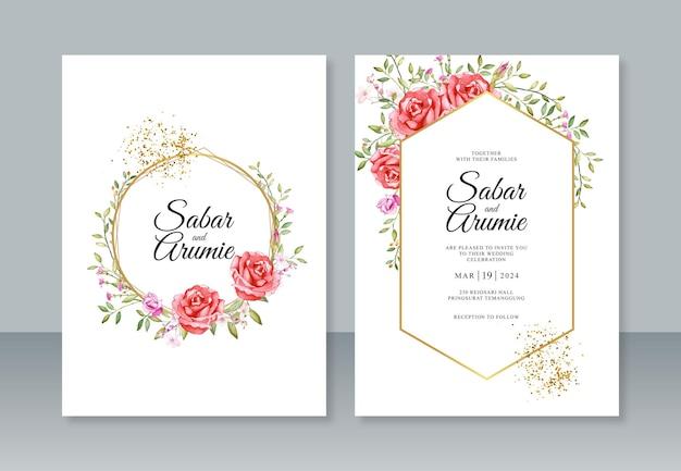 Lindo modelo de convite de casamento com moldura geométrica e aquarela floral