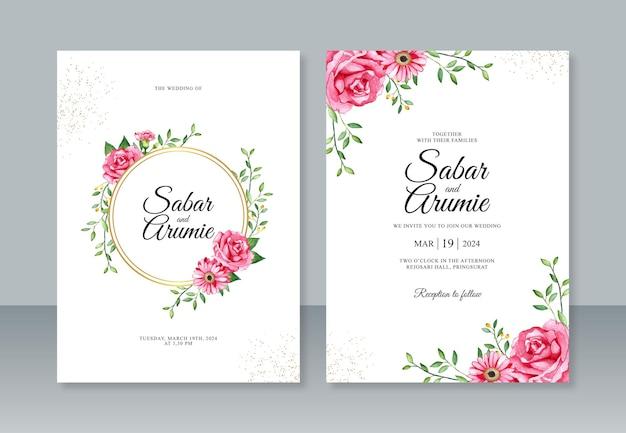 Lindo modelo de convite de casamento com pintura em aquarela de flores vermelhas