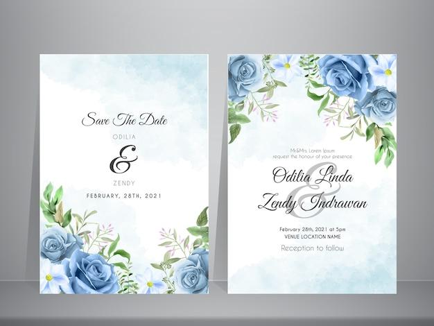 Lindo modelo de convite de casamento com tema de rosas azuis em aquarela