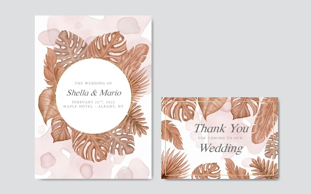 Lindo modelo de convite de casamento floral em aquarela