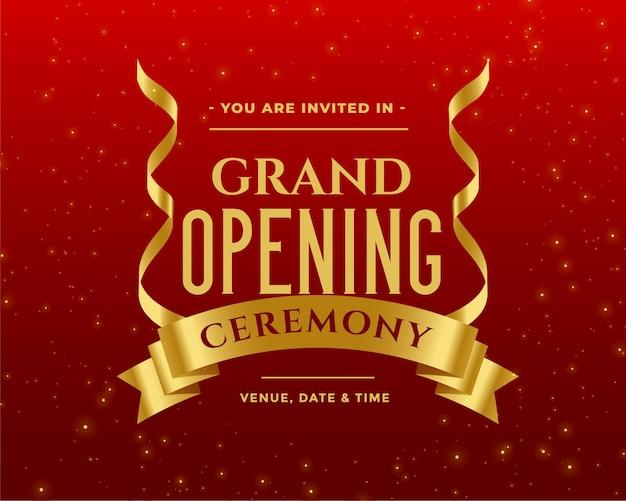 Lindo modelo de convite para a cerimônia de inauguração