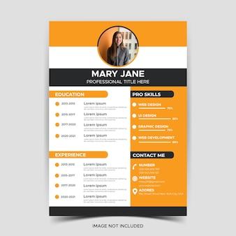 Lindo modelo de currículo de currículo elegante design elegante vetor fundo laranja