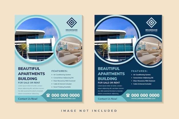 Lindo modelo de design de folheto de prédio de apartamentos com layout vertical espaço do círculo para foto