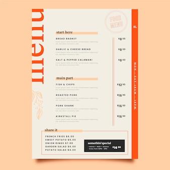 Lindo modelo de design de menu de comida