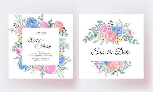 Lindo modelo de folhas florais para cartão de casamento
