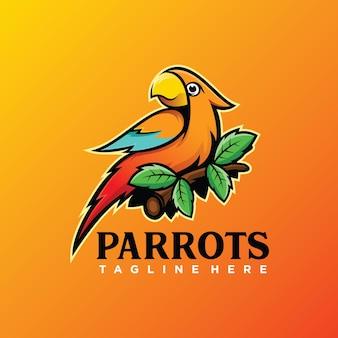 Lindo modelo de logotipo de papagaio