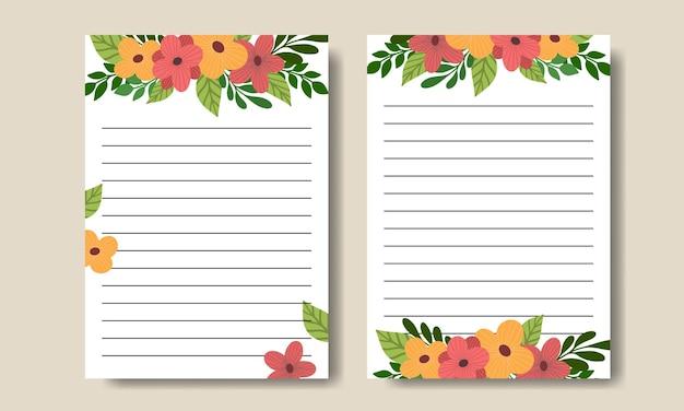 Lindo modelo de notas de flores desenhadas à mão para impressão