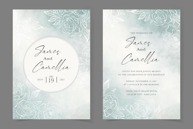 Lindo modelo floral de convite de casamento com fundo azul aquarela