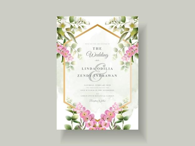 Lindo modelo floral de convite de casamento
