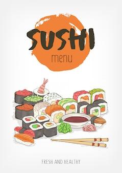 Lindo modelo para menu de restaurante de cozinha japonesa ou asiática com letras de mão e sushi colorido, rolos, sashimi, wasabi, molho de soja, pauzinhos em fundo branco. ilustração.
