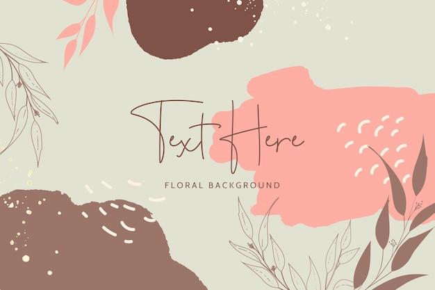Lindo monoline floral e folhas com fundo de cor boêmio