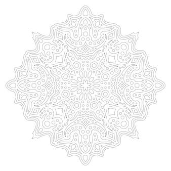 Lindo ornamento de página colorida monocromática linear