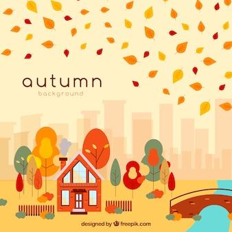 Lindo outono fundo com paisagem