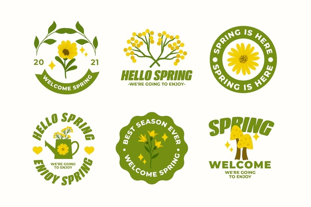 Lindo pacote de crachás de primavera