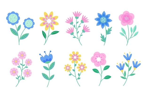 Lindo pacote de flores da primavera