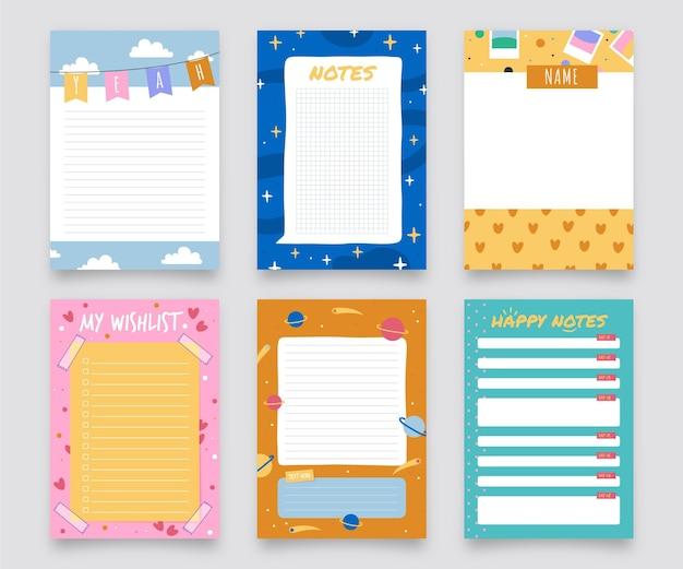 Lindo pacote de notas e cartões para scrapbook