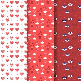 Lindo pacote de padrões para o dia dos namorados