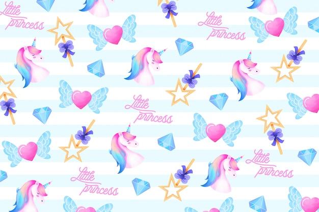 Lindo padrão com elementos mágicos para uma pequena princesa