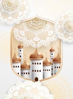 Lindo padrão de arabescos brancos com mesquita dourada