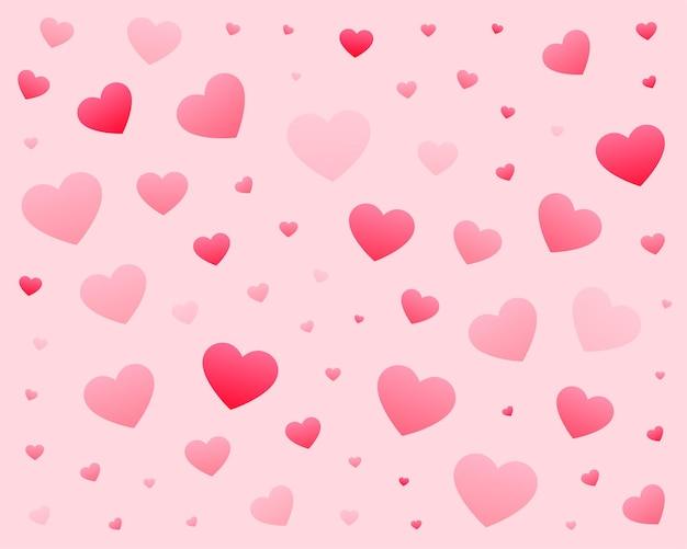 Lindo padrão de corações em tamanhos diferentes