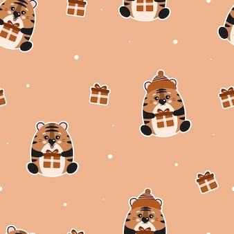 Lindo padrão de natal sem costura com tigres e presentes