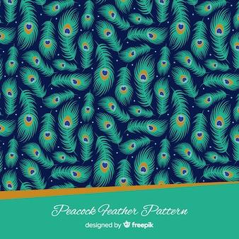 Lindo padrão de penas de pavão com design plano