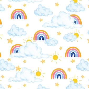 Lindo padrão em aquarela com nuvens, arco-íris e estrelas