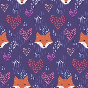 Lindo padrão escuro com cabeças e corações de raposa