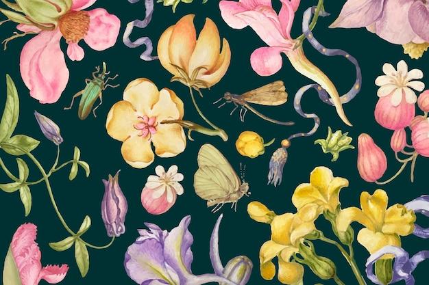 Lindo padrão floral amarelo em fundo escuro
