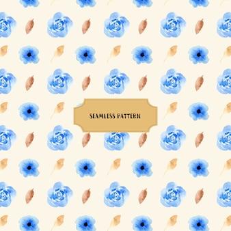 Lindo padrão floral azul aquarela sem costura