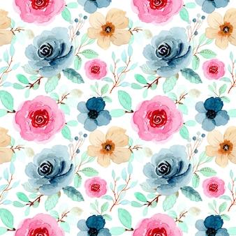 Lindo padrão floral em aquarela