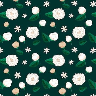 Lindo padrão floral exótico pintado à mão