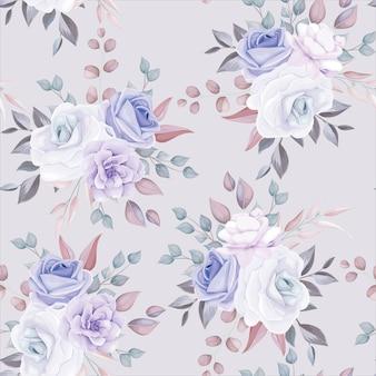 Lindo padrão floral sem costura com flores roxas macias
